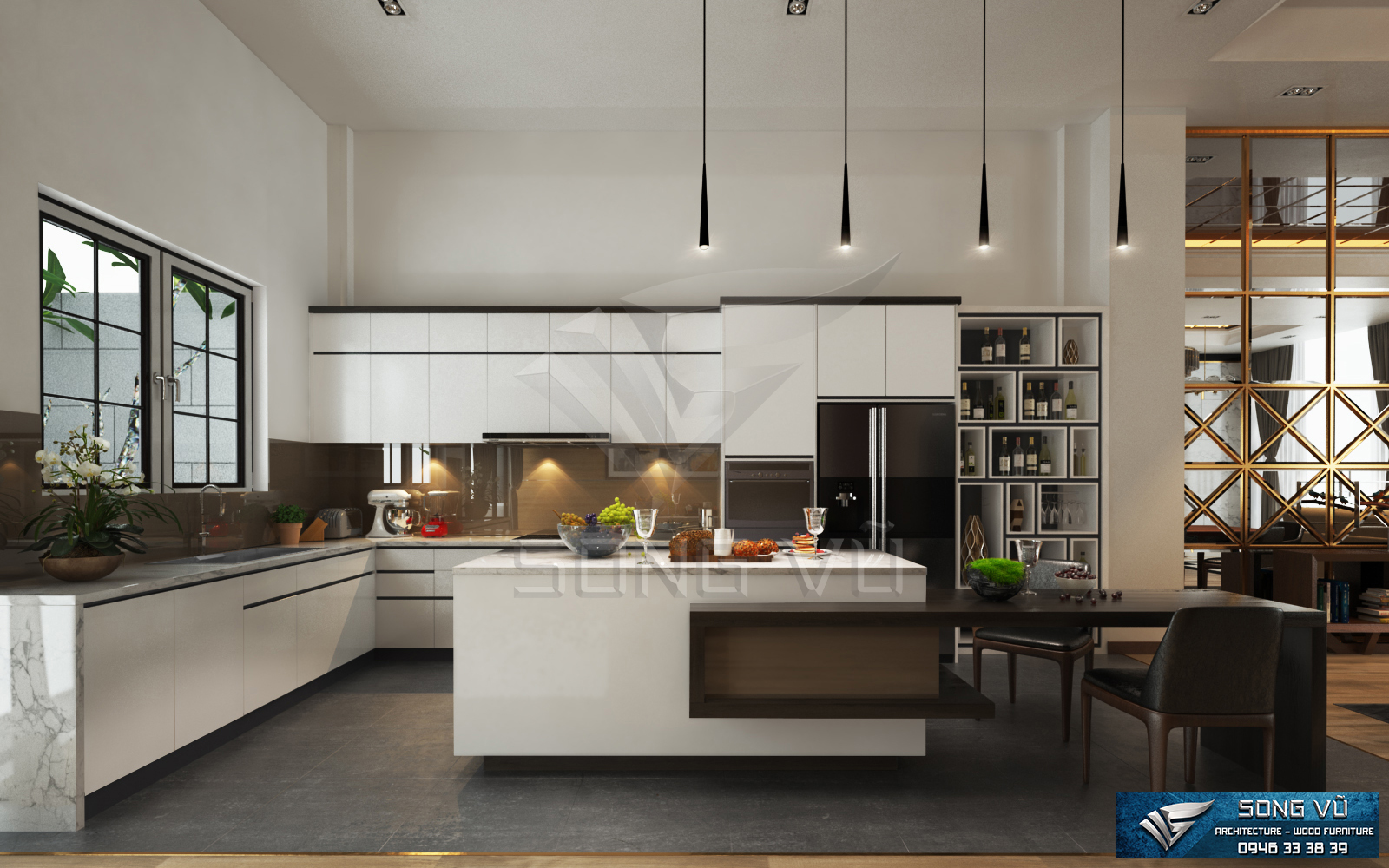 Không gian tiện nghi đơn gián có nội thất Song Vũ bằng gỗ chất lượng phù hợp mọi không gian