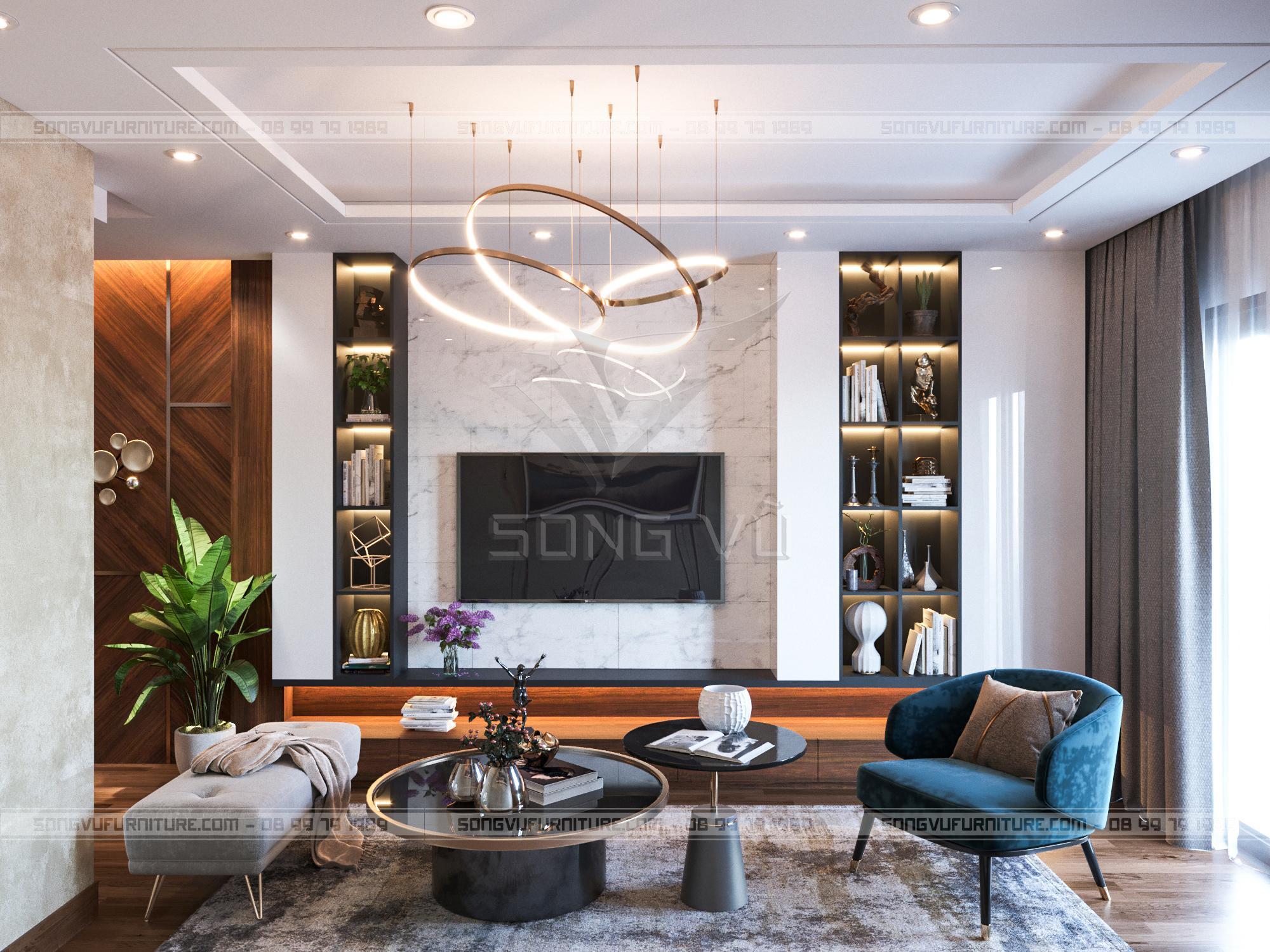 Phòng khách sang trọng nội thất hiện đại Song Vũ
