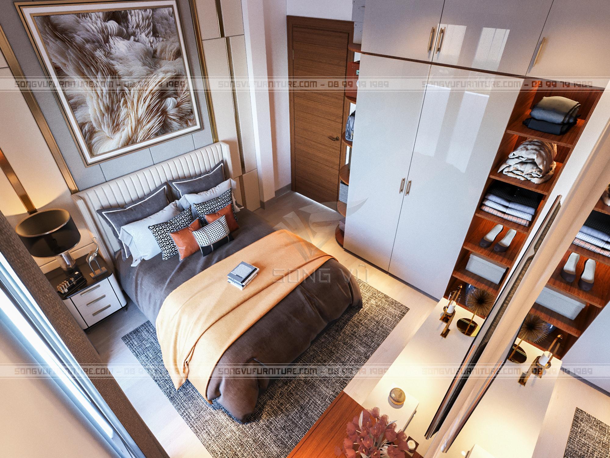 Phòng ngủ có nội thất bằng gỗ nhìn đẹp hiện đại