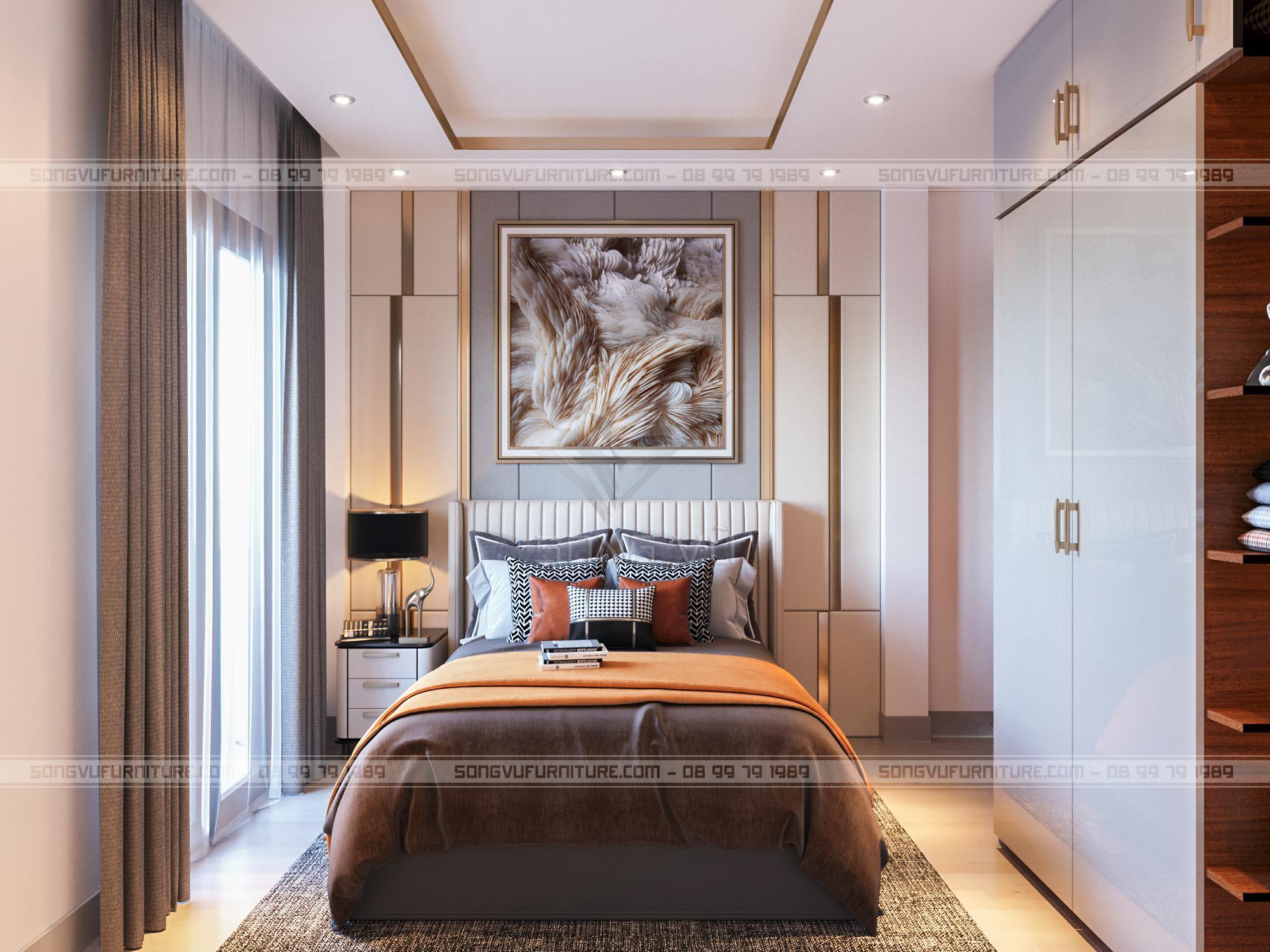 Phòng ngủ có nội thất Song Vũ nhìn đẹp hiện đại
