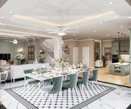Bếp ăn hiện đại  có nội thất Song Vũ ở chung cư